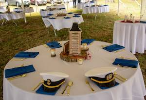 shown are tables and linens that can be rented